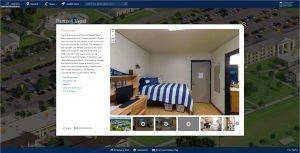 Virtual campus tour of dorm room.