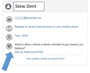 Example of adding an authorized user to student payment plan account.