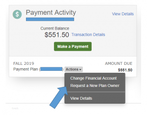 Example of requesting a new plan owner within student account.